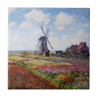 Monet Feld der Tulpen mit Windmühlen-Fliese