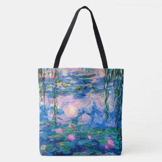 Monet Wasser-Lilien mit Teich-Reflexionen Tasche