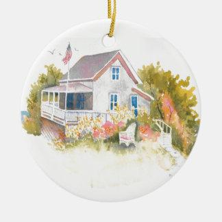 Monhegan Hütte J Kilburn Rundes Keramik Ornament
