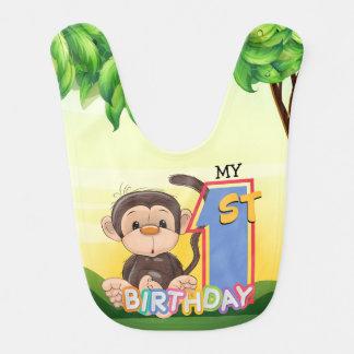 Monkey 1. Geburtstags-Party Babylätzchen
