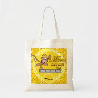 Monkey juste autour le thème de crèche sac en toile budget