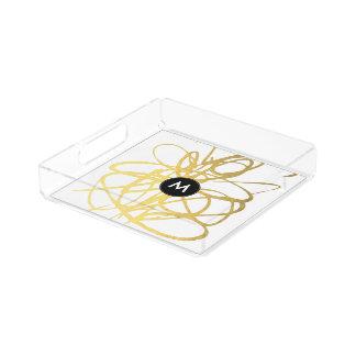 Monogram Gold Black Brushstrokes Perfume Tray Acryl Tablett