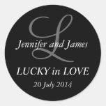 Monogram L Stickers for Weddings Black