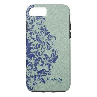 Monogramed blaue Blumenspitze-Salbei-Grünes Leinen iPhone 8/7 Hülle