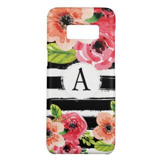 Monogramed Schwarz-weiße StreifenblumenWatercolor Case-Mate Samsung Galaxy S8 Hülle