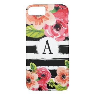 Monogramed Schwarz-weiße StreifenblumenWatercolor iPhone 8/7 Hülle