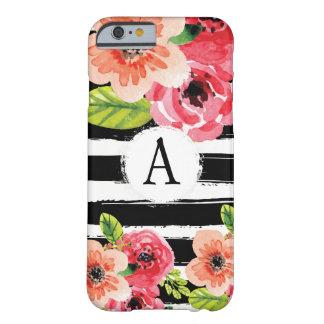 Monogramed Schwarz-weiße Streifenwatercolor-Blumen Barely There iPhone 6 Hülle