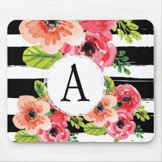 Monogramed Watercolor-Blumen- u. Schwarz-weiße Mousepad