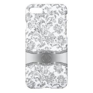 Monogramed weiße u. metallische silberne iPhone 8/7 hülle