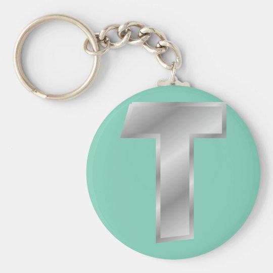 """Monogramm 2,25"""" des Buchstabe-T grundlegender Standard Runder Schlüsselanhänger"""