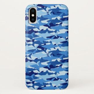 Monogramm 2 des blauer Haifisch-Muster-| iPhone X Hülle