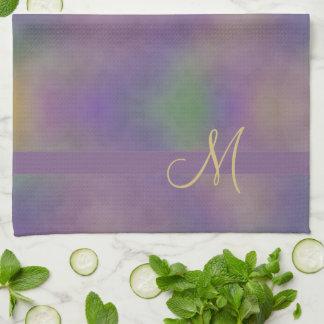 Monogramm-abstraktes lila magentarotes grünes Gold Handtuch