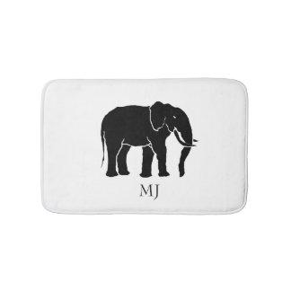 Monogramm-afrikanischer Schwarzweiss-Elefant Badematte