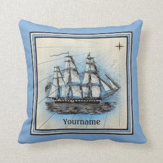 Monogramm-altes Schiffs-Vintager blauer Seekompaß Kissen
