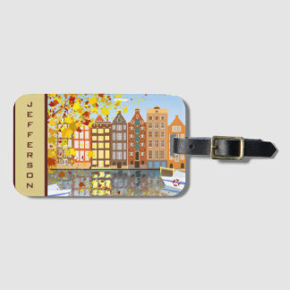 Monogramm-Amsterdam-Stadt-Kanal-bunter Kofferanhänger