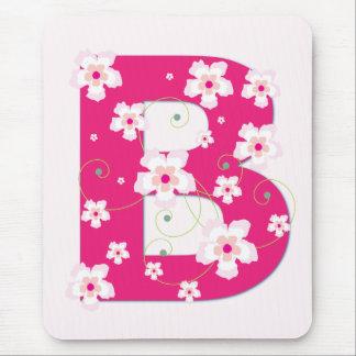 Monogramm Anfangsb hübsches rosa Blumenmousepad Mauspad