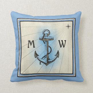 Monogramm-Anker-Vintager blauer Seekompaß Kissen