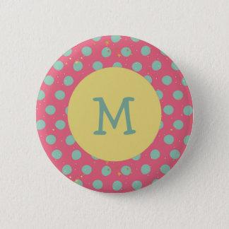 Monogramm-Aqua-Tupfen mit kleinen Sternen Runder Button 5,7 Cm