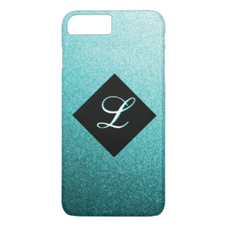 Monogramm-aquamariner Metallflocke iPhone 7 Fall iPhone 7 Plus Hülle