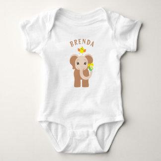 Monogramm-Baby-Elefant-u. Vogel-Baby-Bodysuit Baby Strampler