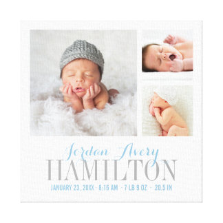 Monogramm-Baby-Foto-Collage eingewickelter Leinwanddruck