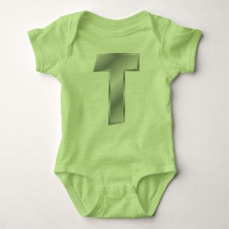 Monogramm-Baby-Jersey-Bodysuit des Buchstabe-T Baby Strampler