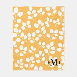 Monogramm-Blatt-Muster-Fleece-Decke Fleecedecke