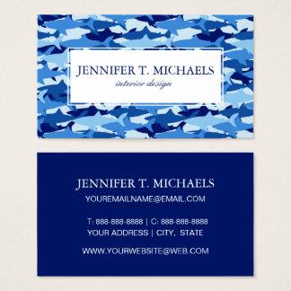 Monogramm-blauer Haifisch-Muster Visitenkarte