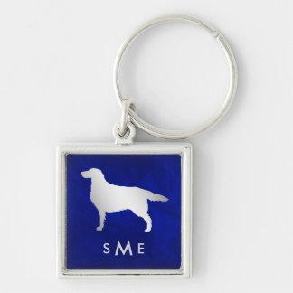 Monogramm-blauer silberner Setzer-Hund Schlüsselanhänger