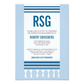 Monogramm blauer Tallit Bar Mitzvah Empfang Karte