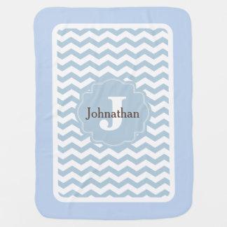 Monogramm-blauer Zickzack Babydecken