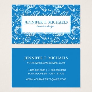 Monogramm-blaues Strand-Muster Visitenkarte