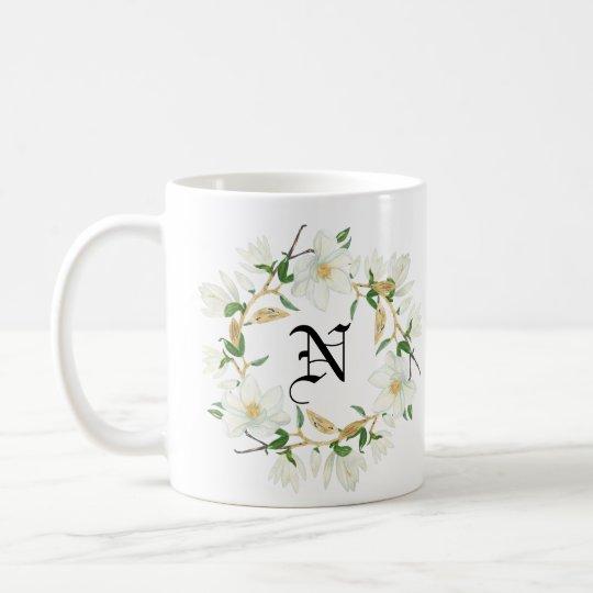 Monogramm-blühendes Magnolien-Aquarell Tasse