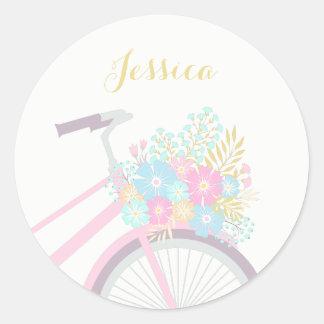 Monogramm-Blumen-Fahrrad-niedlicher Runder Aufkleber