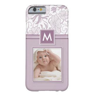 Monogramm-BlumenFoto-Telefon-Kasten (Lavendel) Barely There iPhone 6 Hülle