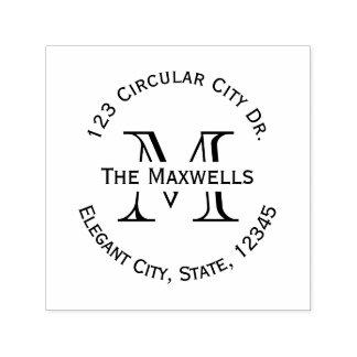 Monogramm-Buchstabe-Kreis-Adressen-Briefmarke Permastempel