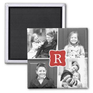 Monogramm-Collagen-personalisierter Foto-Magnet - Quadratischer Magnet