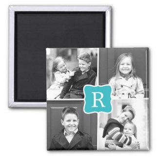 Monogramm-Collagen-personalisierter Foto-Magnet Quadratischer Magnet