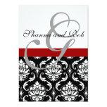 Monogramm-Damast-Hochzeits-Einladungs-12x18 Zoll Individuelle Ankündigungskarte