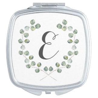Monogramm des Aquarell-Eukalyptus-Blatt-Spant-| Taschenspiegel