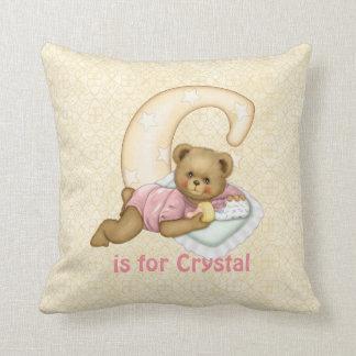 Monogramm des Teddybär-Buchstabe-C - fertigen Sie Kissen