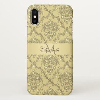 Monogramm-eleganter Golddamast iPhone X Fall iPhone X Hülle