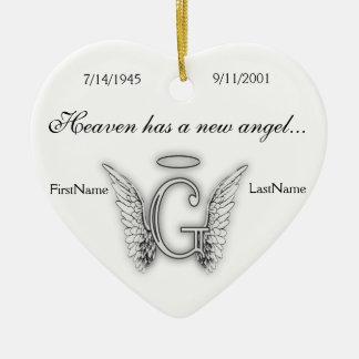 Monogramm-Erinnerungstribut-Verzierung G Keramik Ornament