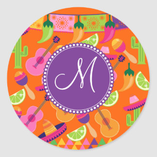 Monogramm-Fiesta-Partysombrero-Kaktus kalkt Runder Aufkleber