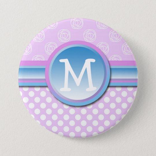Monogramm-Flieder-Tupfen Runder Button 7,6 Cm