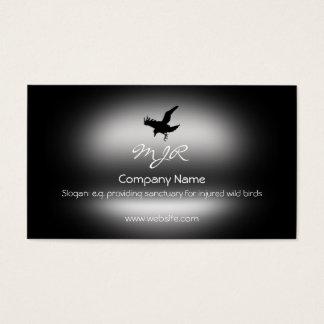Monogramm, fliegender Raben-Vogel, Visitenkarte