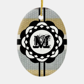 Monogramm-flippiges blaues Stoff-Muster Keramik Ornament