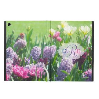 Monogramm-Frühlings-Garten-schöne Tulpe-Hyazinthe