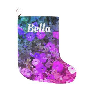 Monogramm-Girly lila rosa BlumenNamensBlumen Großer Weihnachtsstrumpf