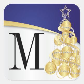Monogramm-Gold u. blaue frohe Weihnachten Quadratischer Aufkleber
